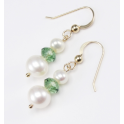 Earrings 18K Gold Plated Swarovski Flat bead Erinite and double White Freshwater Pearl
