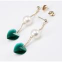 Boucle d'oreille Plaqué Or Gold Filled 14 K Swarovski coeur Emeraude et Perle d'eau douce Blanche