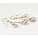 Boucle d'oreille Plaqué Or Swarovski Golden Shadow et Perle d'eau douce Lavande