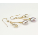 Earrings 18K Gold Plated Swarovski Golden Shadow and Lavender Freshwater Pearl