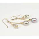 Boucle d'oreille Plaqué Or Perle et Swarovski Pêche et Golden Shadow