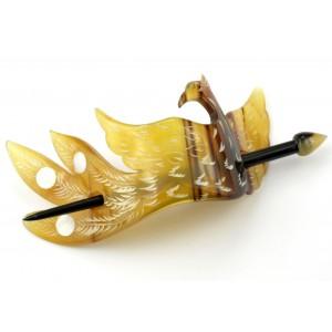 Barrette à cheveux en véritable corne - Phoenix gravé incrusté de nacre