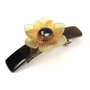 Accessoire de coiffure en corne naturelle - Barrette clip pour cheveux - Grande fleur claire
