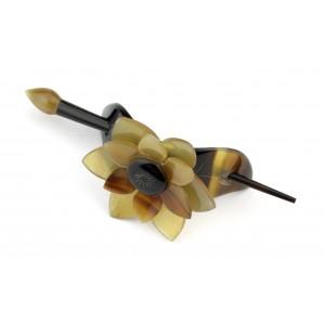 Barrette pic à cheveux en corne de buffle Lotus et feuille