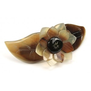 Véritable corne naturelle - Barrette clip pour cheveux - Feuille et fleur gravée