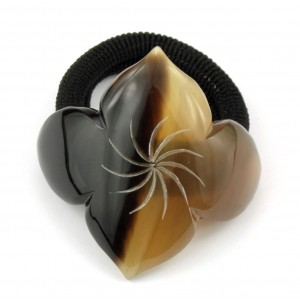 Chou-chou élastique à cheveux en corne de buffle Fleur losange
