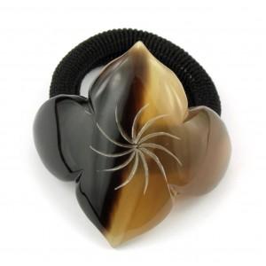 Scrunchie hair elastic Genuine natural Horn - Engraved losange
