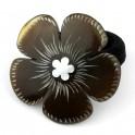 Chou-chou élastique à cheveux en corne de buffle Fleur incrustée de nacre