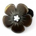 Elastic Scrunchy Real natural horn Engraved clover with mother of pearl inlaid Carved black horn