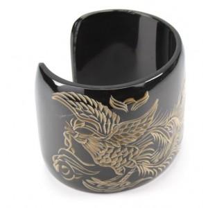 Natural buffalo horn Bracelet cuff Engraved Phoenix