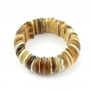 Bracelet en Corne de buffle Paillettes rondes claire sur double fils extensibles
