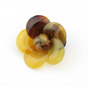 Chou chou Elastique à cheveux en véritable corne naturelle Grande Fleur aux pétales hélice