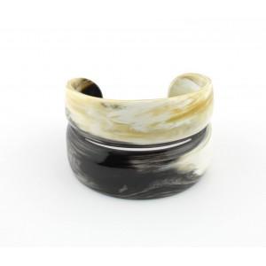 Bracelet en Corne de buffle Manchette ouverte claire