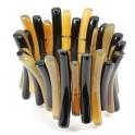 Bracelet en Corne de buffle Paillettes Bambou sur double fils extensibles