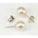 Boucle d'oreille Argent Massif Rhodié Bouton Perle d'eau douce Blanche