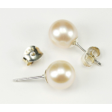 Earring 925 Sterling Silver Rhodium plated Stud button White Freshwater Pearl