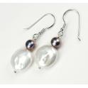 Boucle d'oreille Argent Massif Rhodié Keshi Perle d'eau douce Blanche et Perle Noire