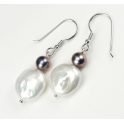 Earring 925 Sterling Silver Rhodium plated White Keshi and  Black Freshwater Pearl