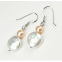Earring 925 Sterling Silver Rhodium plated White Keshi and  Peach Freshwater Pearl