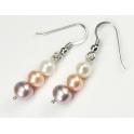 Boucle d'oreille Argent Massif Rhodié Triple Perle d'eau douce 3 couleurs