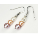 Earring 925 Sterling Silver Rhodium plated Three colors Freshwater Pearl