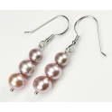 Earring 925 Sterling Silver Rhodium plated Three Lavender Freshwater Pearl