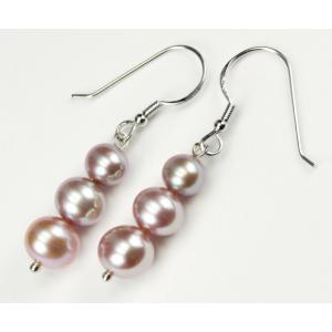 Boucle d'oreille Argent Massif Triple perle Lavande