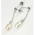 Boucle d'oreille Argent Massif Rhodié Pendentif Tige et poussoir Perle d'eau douce Blanche