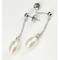 Earring 925 Sterling Silver Rhodium plated Pendant stud White Freshwater Pearl