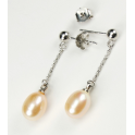 Earring 925 Sterling Silver Rhodium plated Pendant stud Peach Freshwater Pearl