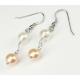 Boucle d'oreille Argent Massif double perle Blanche et Lavande