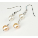 Boucle d'oreille Argent Massif Rhodié double Perle d'eau douce Blanche et Pêche