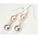 Earring 925 Sterling Silver Rhodium plated Pendant double Lavender and Peach Freshwater Pearl