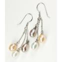 Boucle d'oreille Argent Massif Rhodié Triple Pendentif Perle d'eau douce 3 couleurs