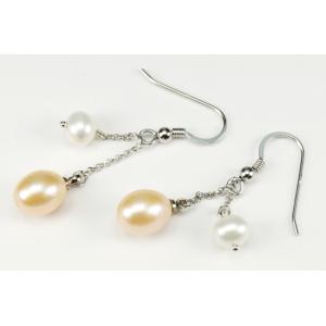 Boucle d'oreille Argent Massif double perle Pêche et Blanche
