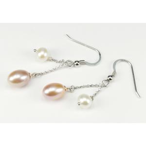 Boucle d'oreille Argent Massif double perle Lavande et Blanche