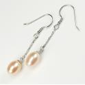 Boucle d'oreille Argent Massif Rhodié Pendentif crochet Perle d'eau douce Pêche