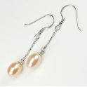 Earring 925 Sterling Silver Rhodium plated Pendant hook Peach Freshwater Pearl