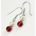 Boucle d'oreille Argent Massif Rhodié Crochet Perle d'eau douce Blanche et Corail rouge