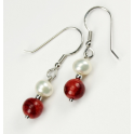 Earring 925 Sterling Silver Rhodium plated Hook White Freshwater Pearl and Red Coral