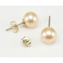 Earrings 18K Gold Plated stud Peach Freshwater Pearl