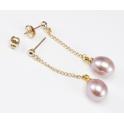 Boucle d'oreille Plaqué Or Gold Filled 14 K Pendentif Tige et poussoir Perle d'eau douce Lavande
