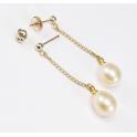 Boucle d'oreille Plaqué Or Gold Filled 14 K Pendentif Tige et poussoir Perle d'eau douce Pêche