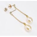 Earrings 18K Gold Plated Pendants stud and ear nuts Peach Freshwater Pearl