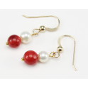 Earrings 18K Gold Plated Hook White Freshwater Pearl and Red coral