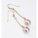 Boucle d'oreille Plaqué Or 18 Carats Pendentif crochet Perle d'eau douce Lavande