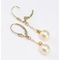 Boucle d'oreille Plaqué Or 18 Carats Pendentif dormeuse Perle d'eau douce Pêche