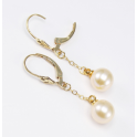 Earrings 18K Gold Plated Pendant and Leverback Peach Freshwater Pearl