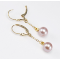 Earrings 18K Gold Plated Pendant and Leverback Lavender Freshwater Pearl