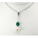 Pendand 925 Sterling Silver Rhodium plated Swarovski Emerald Crystal and White Freshwater Pearl